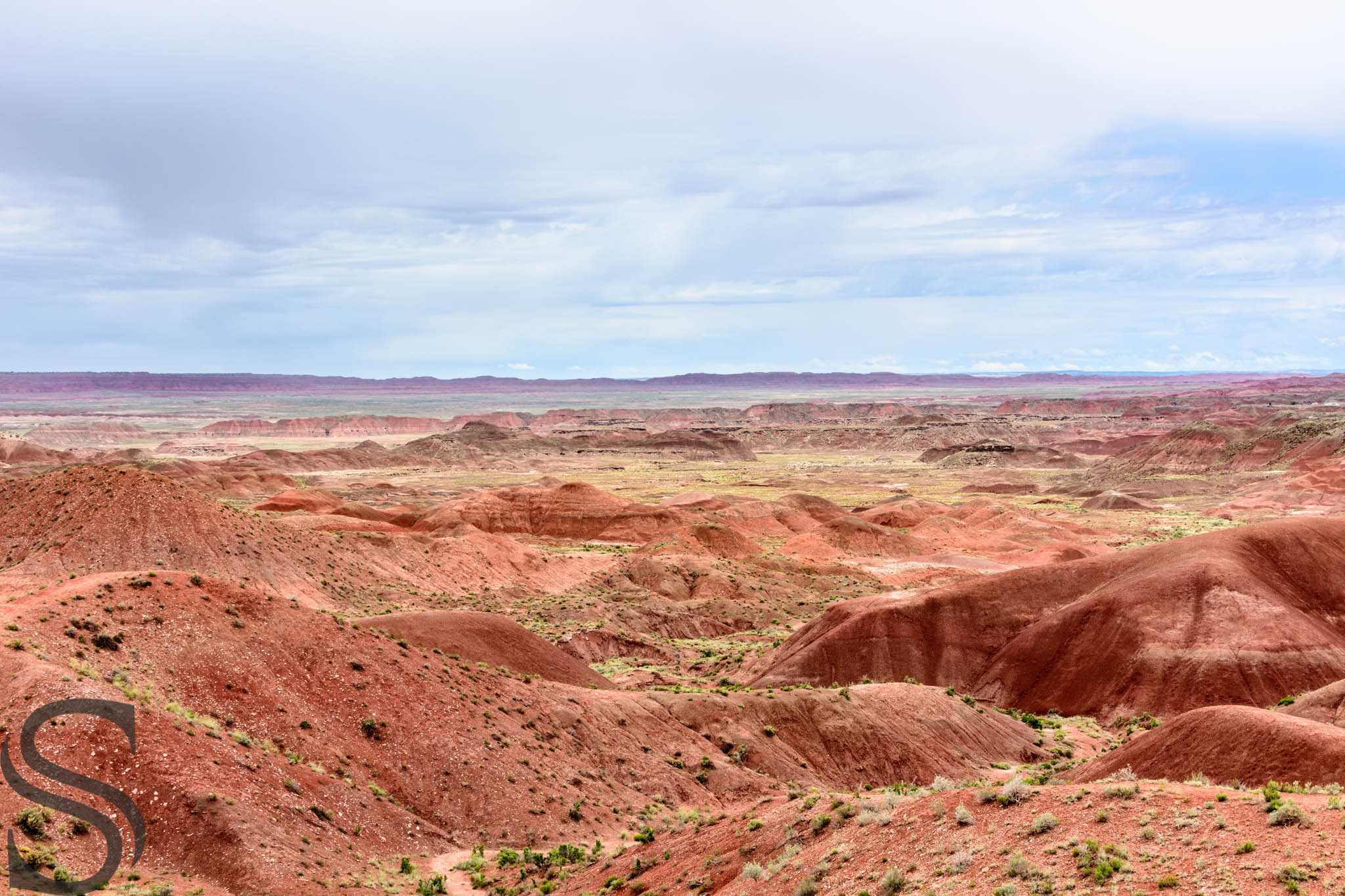 Standing within the painted desert just off the Tiponi Point Overlook in Petrified Forest National Park