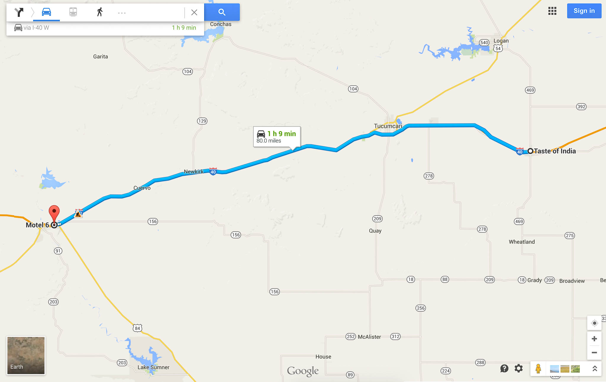 From Taste of India in San Jon, NM to Motel 6 on Route 66 in Santa Rosa, NM