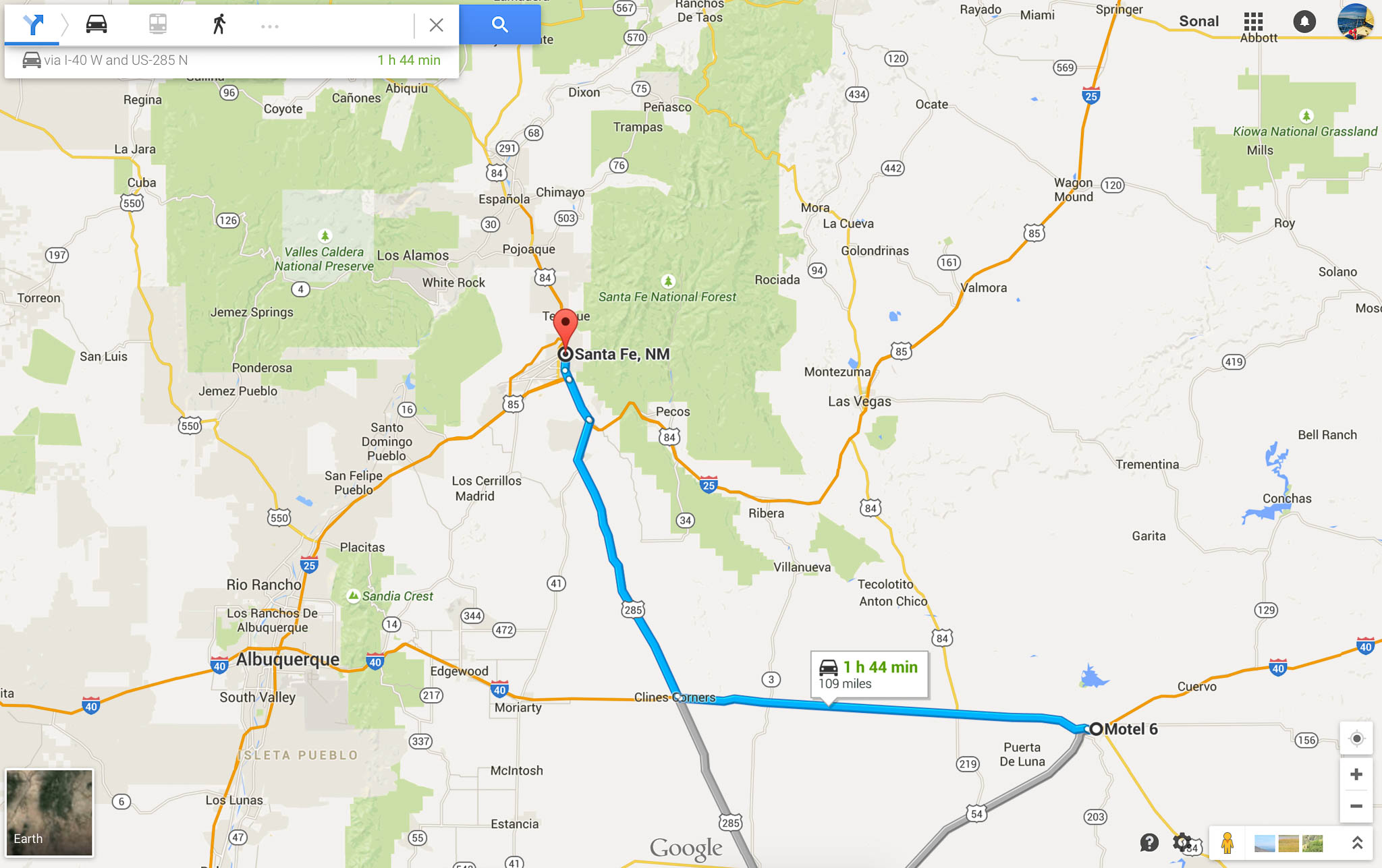 Driving directions from Motel 6 in Santa Rosa to Santa Fe in New Mexico