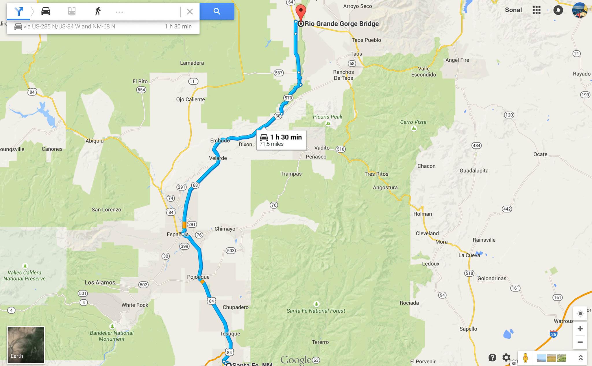 From Santa Fe Downtown to Rio Grande Gorge Bridge via Hwy 570 - scenic route along the Rio Grande