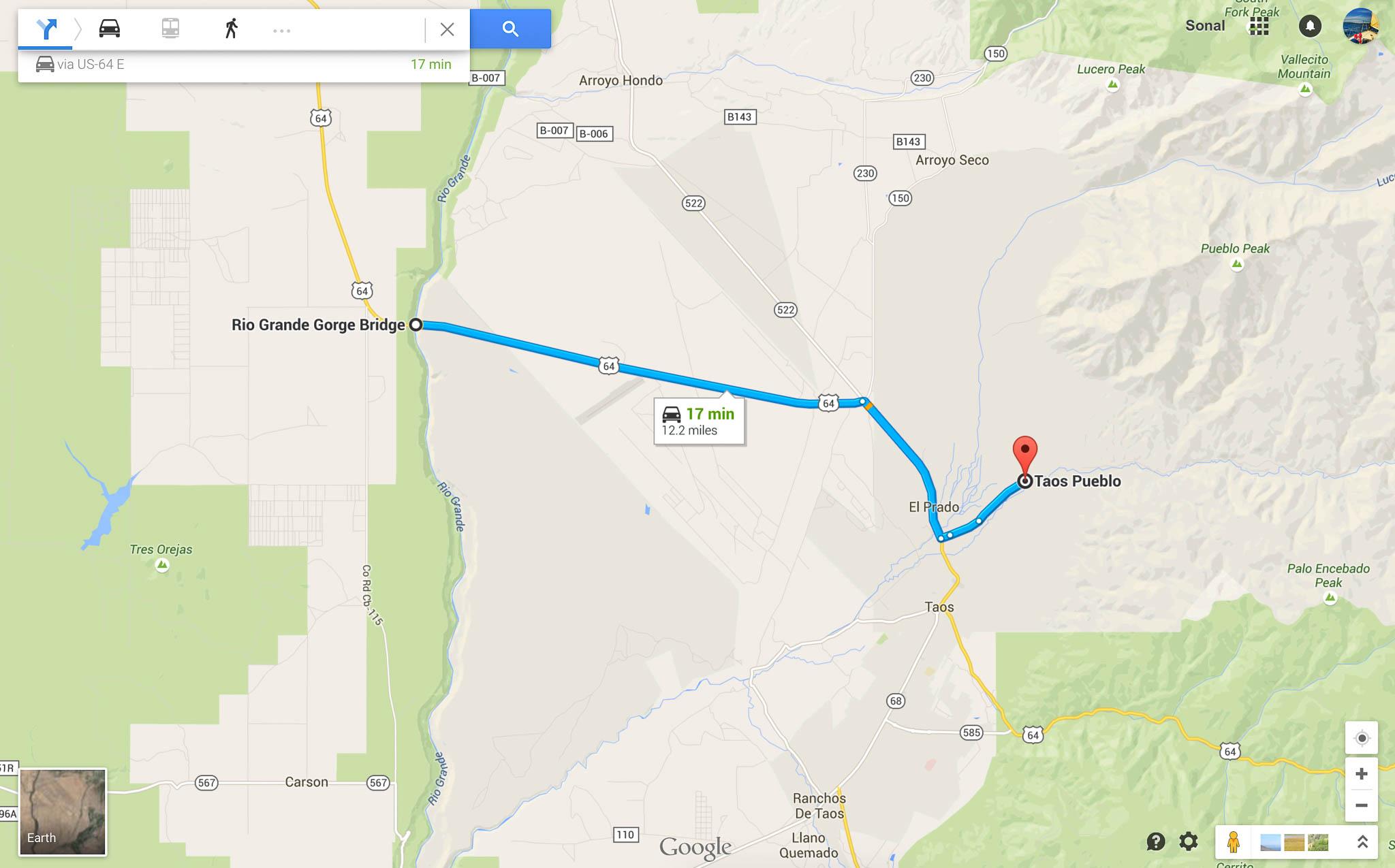 Direction from Rio Grande Gorge Bridge to Taos Pueblo (UNESCO Word heritage site) in New Mexico