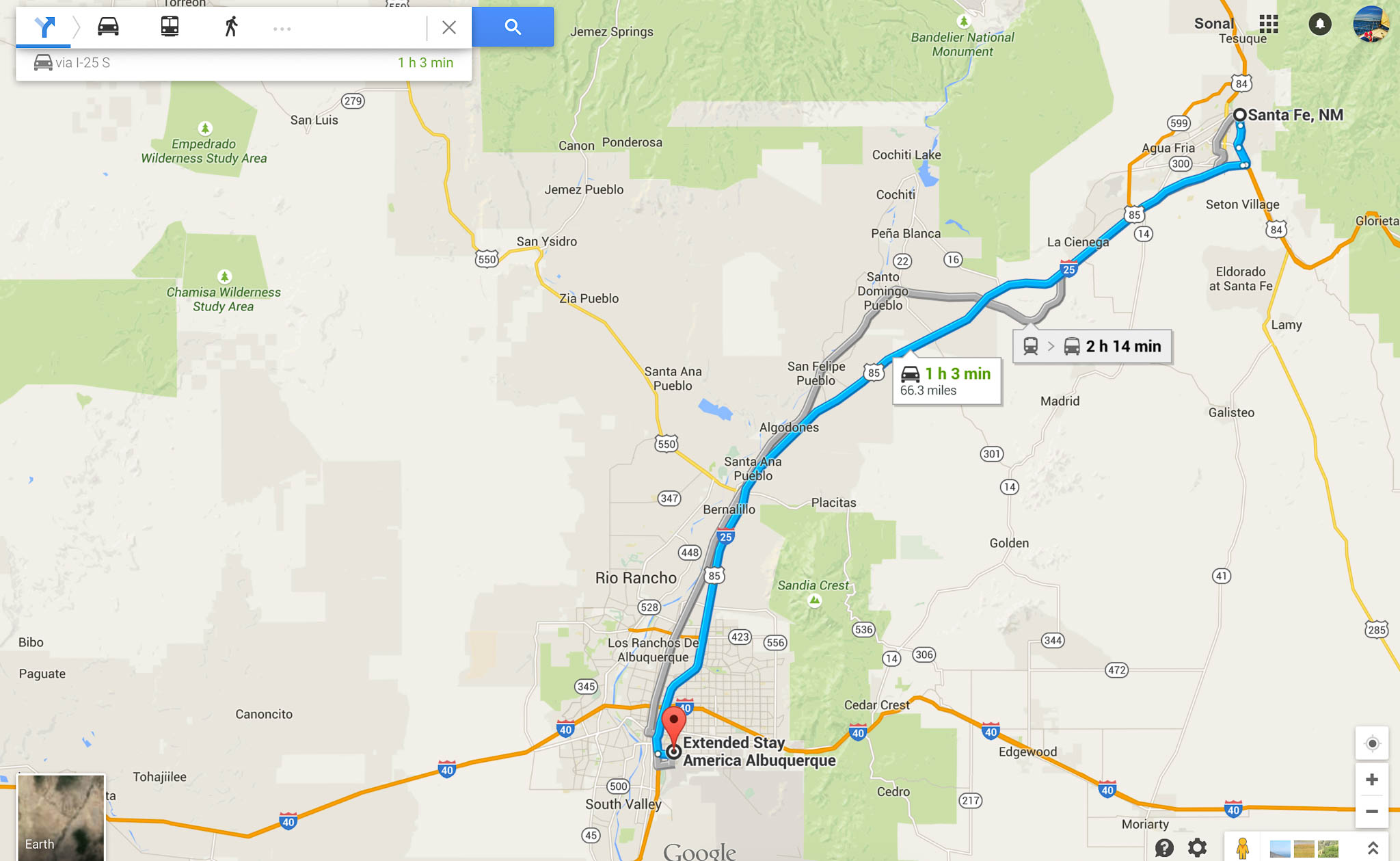 Directions from Santa Fe downtown to Extended Stay in Albuquerque, NM