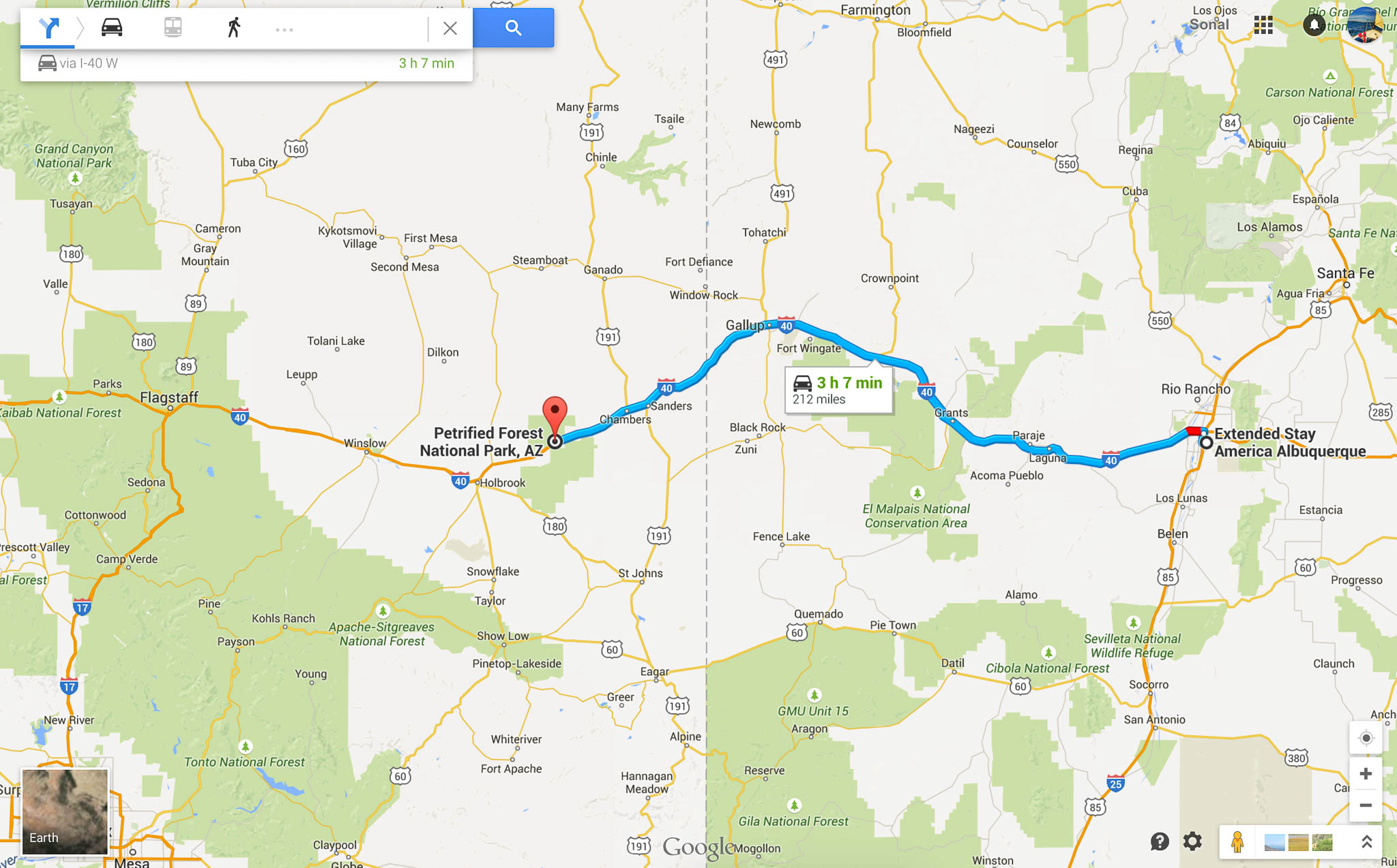 Directions to Petrified Forest National Park in Northern Arizona from Albuquerque, NM