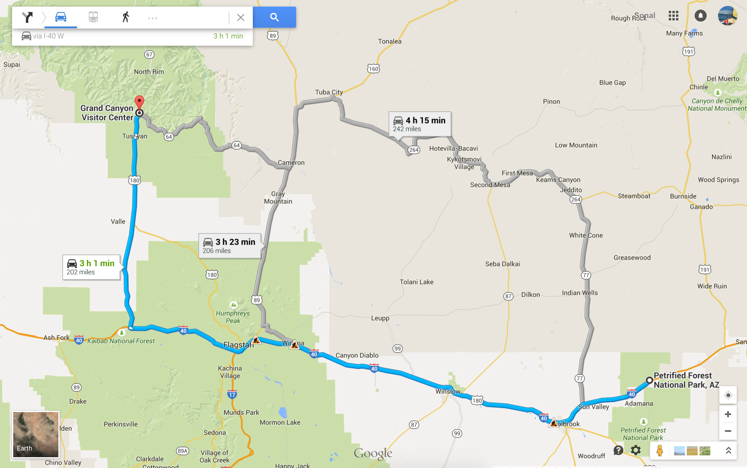 Directions from Petrified Forest to Grand Canyon via the highlighted blue route.