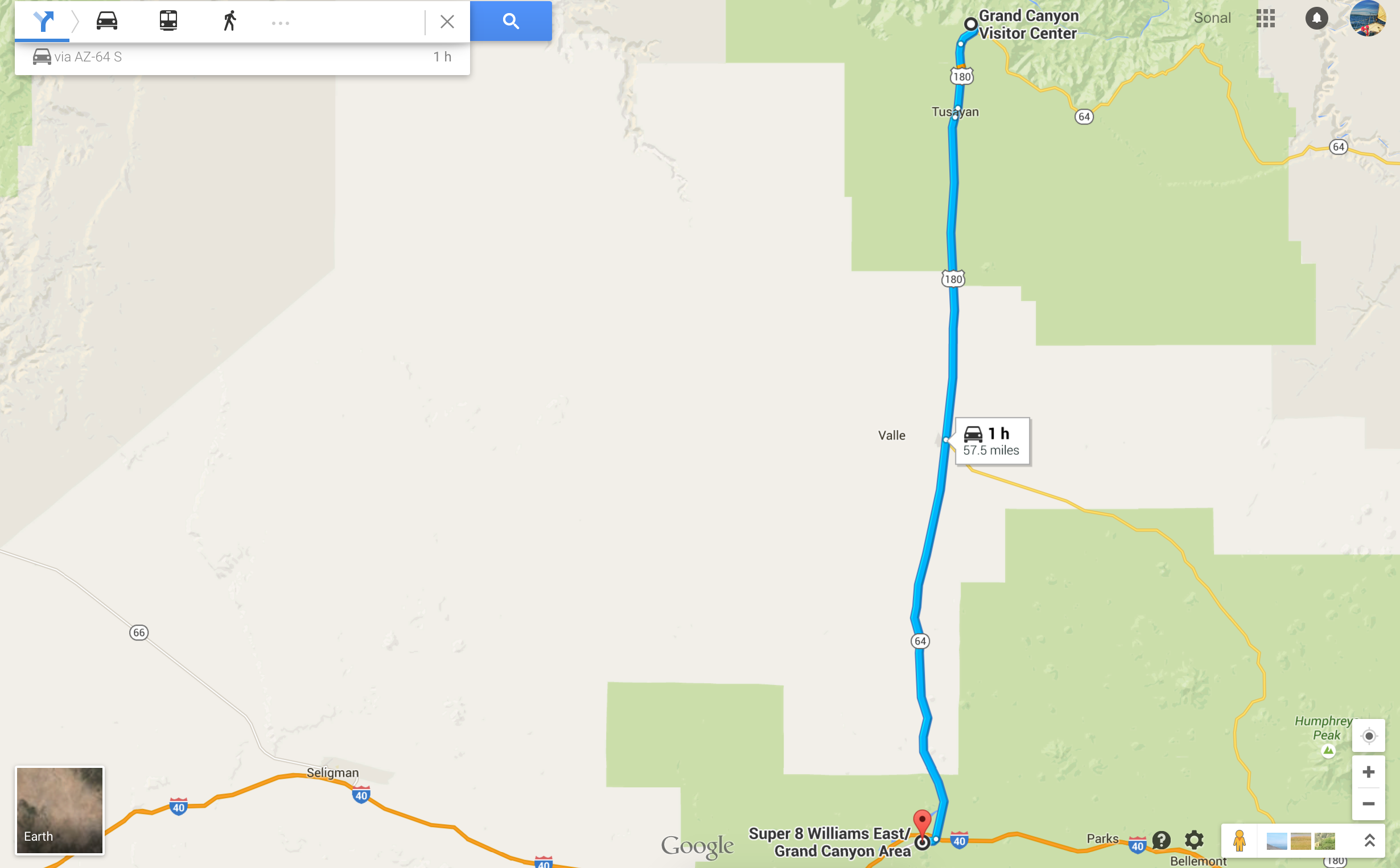 Directions from Grand Canyon to Super 8 in Williams, AZ