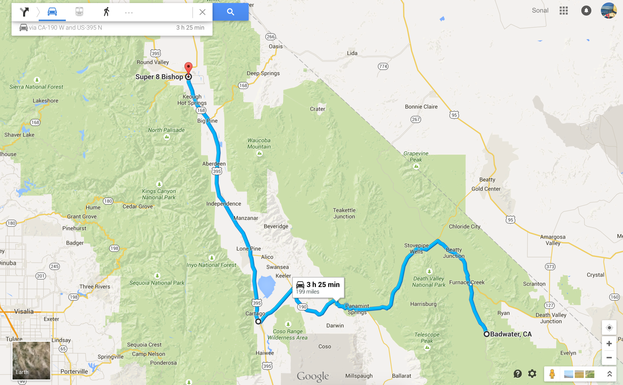 Long long drive from Death Valley to Super 8 in Bishop, CA